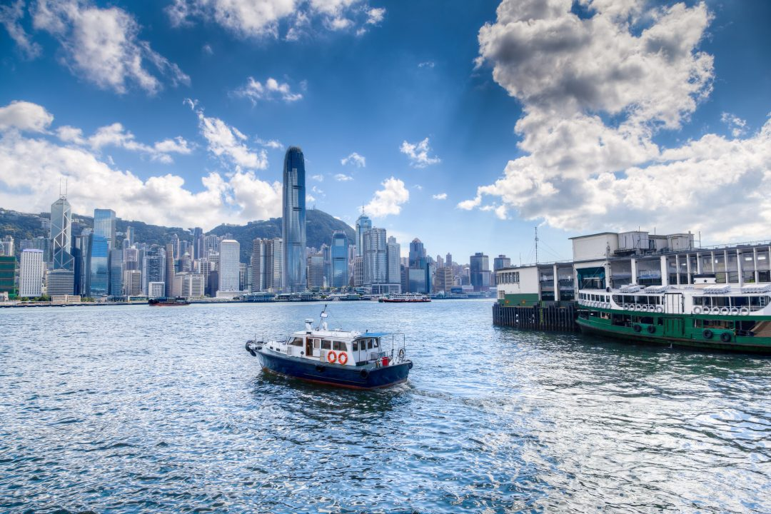 Floating ship in victoria harbour hong kong