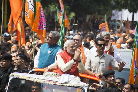 Narendra modi indian prime minister on bjp rally